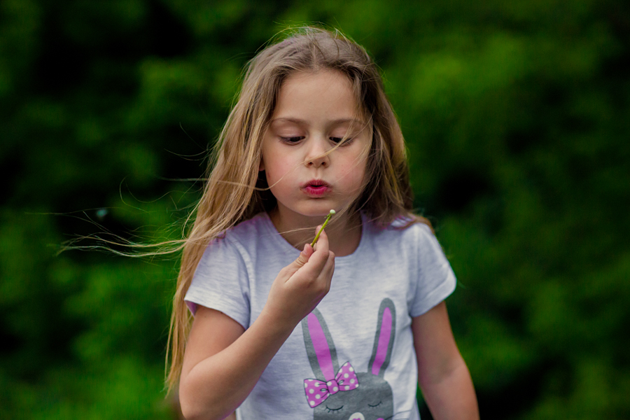 Little girl blowing on a dandelion